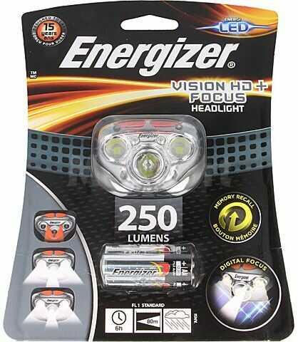 Latarka czołowa LED ENERGIZER VISION HD+ FOCUS wodoodporna 6h 250lm szary