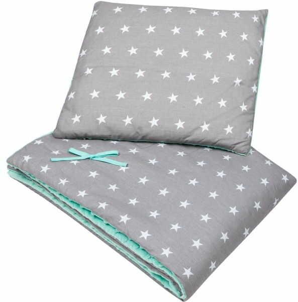 Kocyk i poduszka szare gwiazdy minky