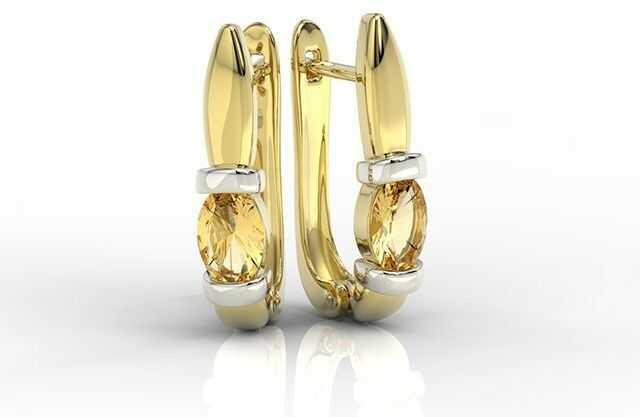 Kolczyki z żółtego i białego złota z cytrynami apk-67zb