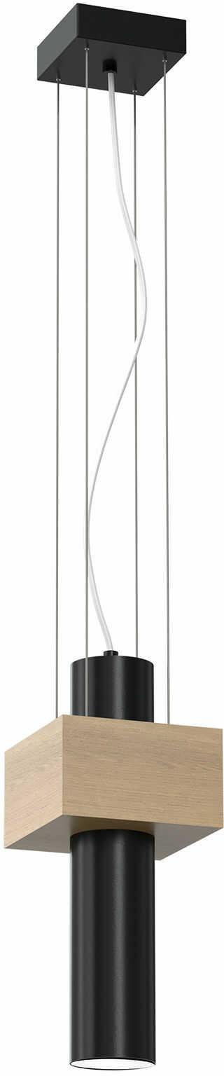 Milagro WEST BLACK MLP5509 lampa wisząca czarna podłużny klosz w kształcie walca metal drewno 1xGU10 11cm