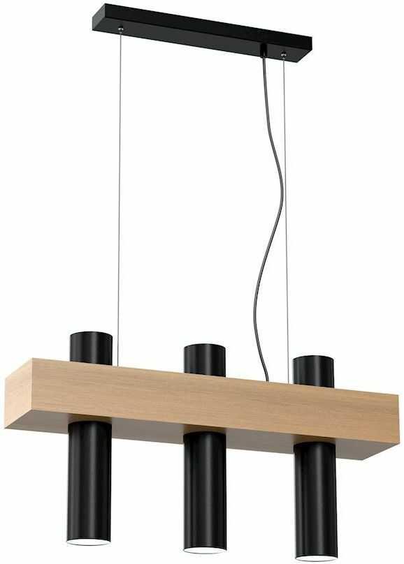 Milagro WEST BLACK MLP5510 lampa wisząca czarna podłużny klosz w kształcie walca metal drewno 3xGU10 51cm