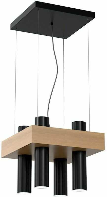 Milagro WEST BLACK MLP5512 lampa wisząca czarna podłużny klosz w kształcie walca metal drewno 4xGU10 29cm