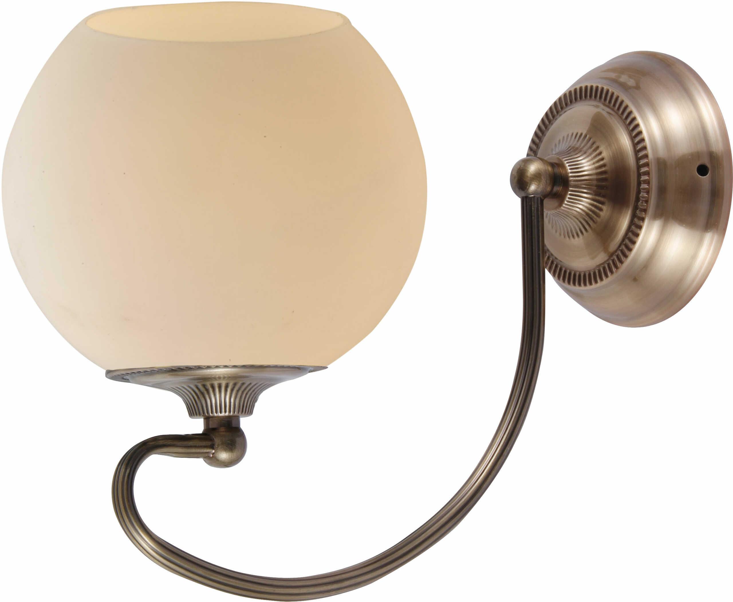 Candellux ORBIT 21-69344 kinkiet lampa ścienna patynowa miedź szklany klosz 1X60W E27 13cm