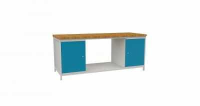 Stół warsztatowy Szerokość 200cm STW403 blat roboczy i 2 szafki