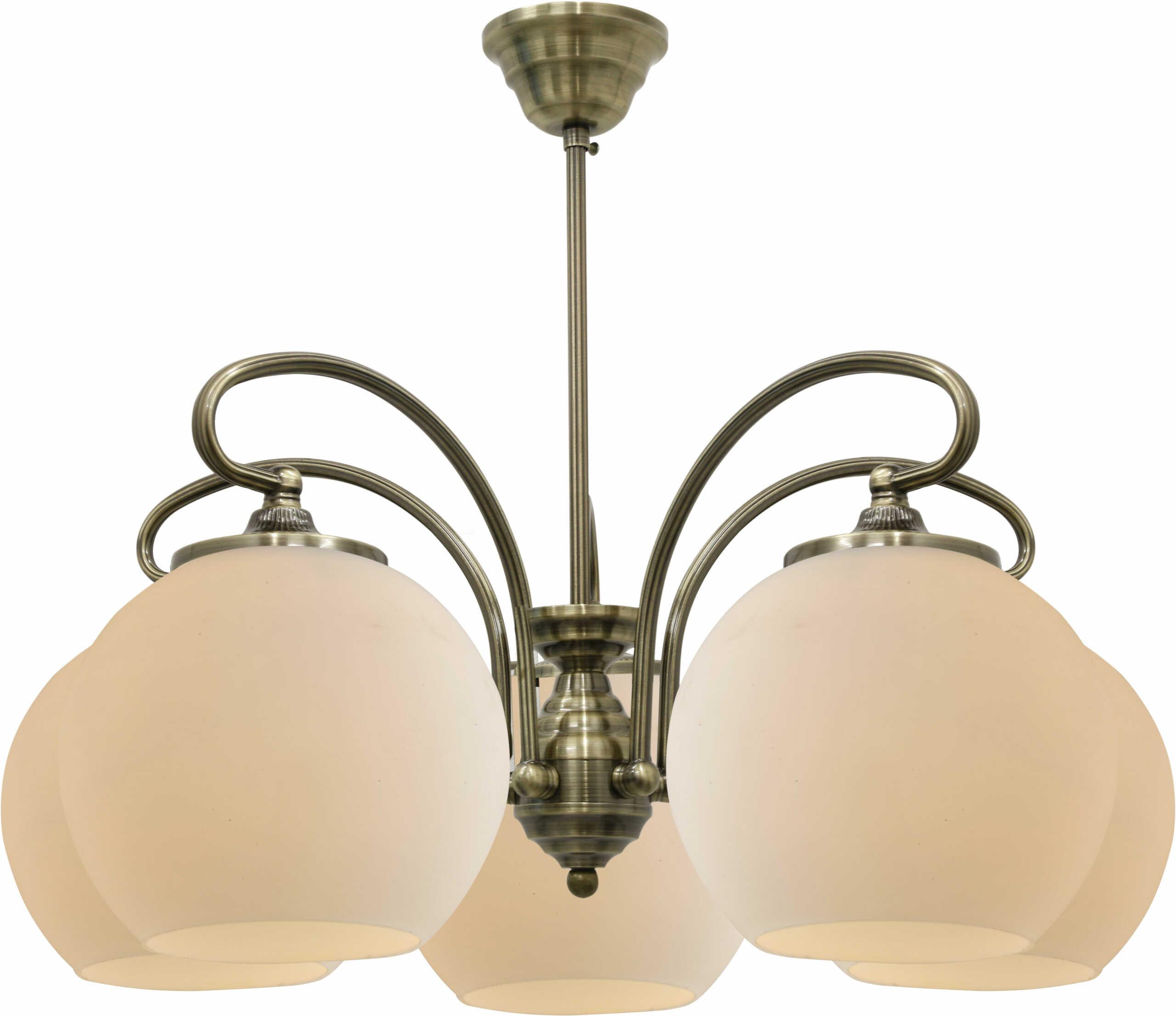 Candellux ORBIT 35-69368 lampa wisząca patynowa miedź szklany klosz 5X60W E27 51cm