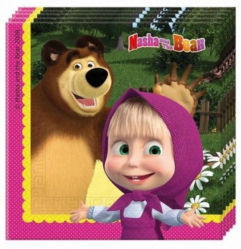 Serwetki papierowe Masza i Niedźwiedź - Masha And The Bear (20 szt)