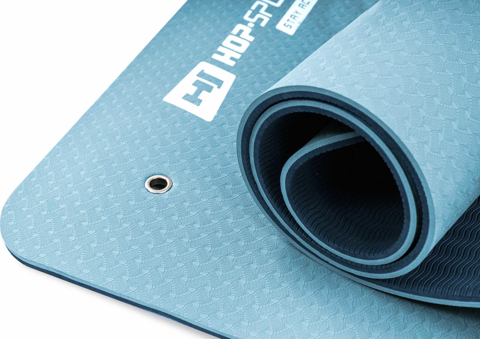 Mata fitness z otworami TPE 0,8cm niebiesko/jasnoniebieska