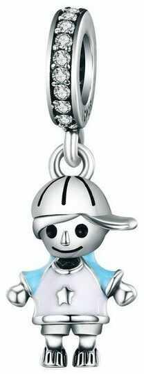 Rodowany srebrny wiszący charms do pandora chłopiec boy srebro 925 BEAD6BOY