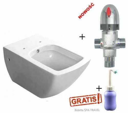 Miska WC z bidetem PURITY 35x55,5+Termostatyczny mieszacz do wody