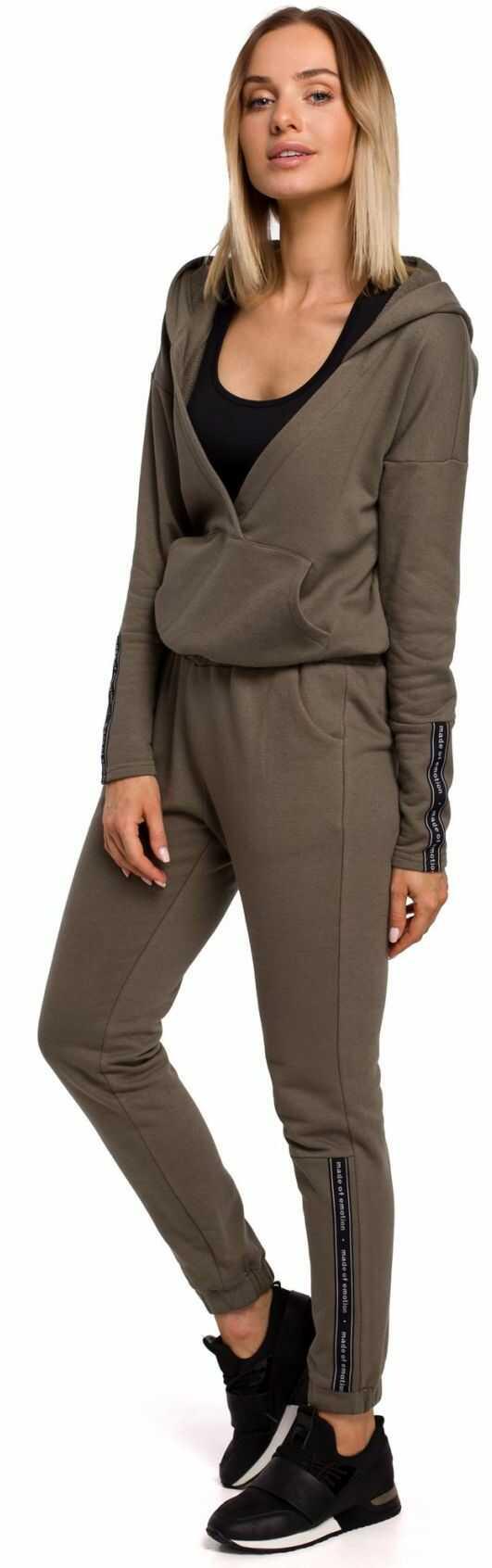 M553 Spodnie z lampasem dresowe - khaki