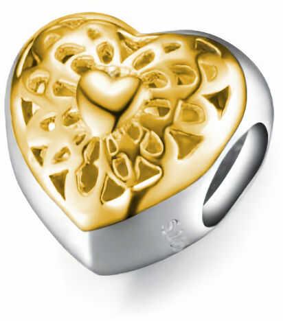 Rodowany pozłacany srebrny charms do pandora serce serduszko heart ażurowy wzór srebro 925 SY029