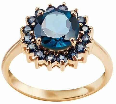 Staviori pierścionek. 1 topaz london blue, masa 2,44 ct.. 16 szafirów, masa 0,74 ct.. żółte złoto 0,585. średnica korony ok. 13 mm. przepiękny, klasyczny pierścionek z ogromnym london blue topaz otoczonym przez 16 szafirów