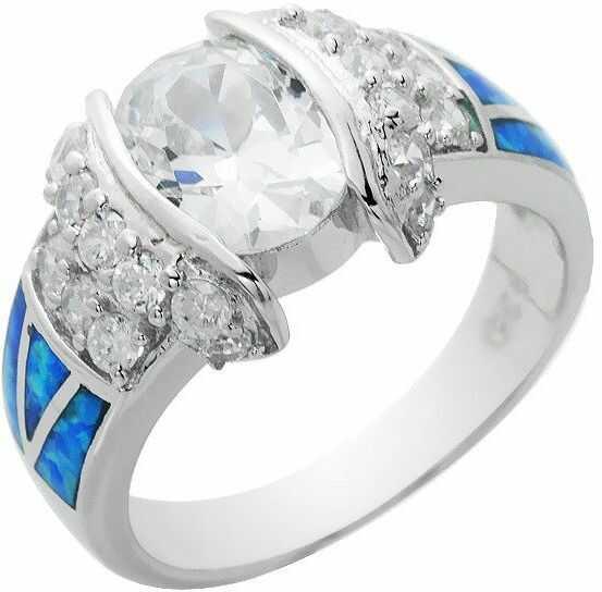 Srebrny Pierścionek z Niebieskimi Opalami