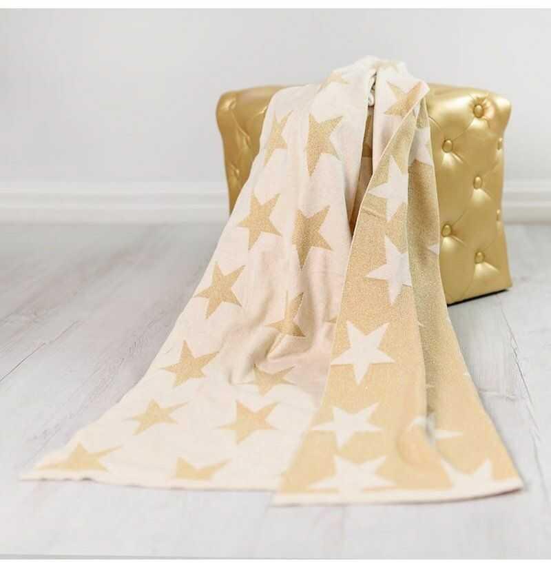 Bizzi Growin - Gold Stars Blanket Kocyk Tkany Złote Gwiazdy