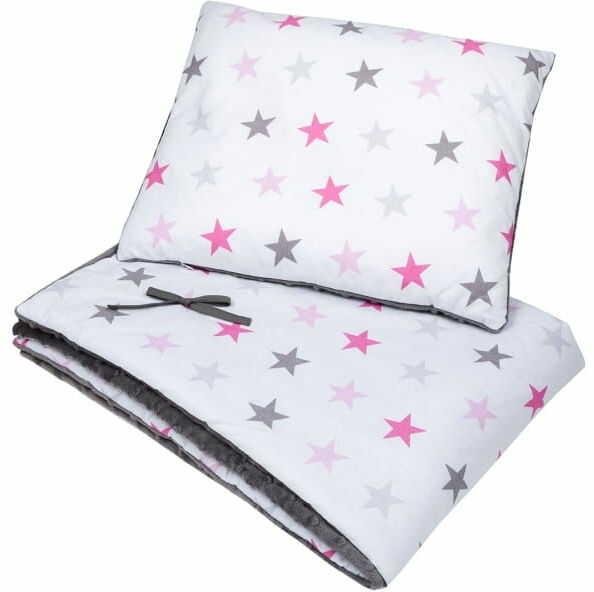 Kocyk i poduszka białe gwiazdy minky
