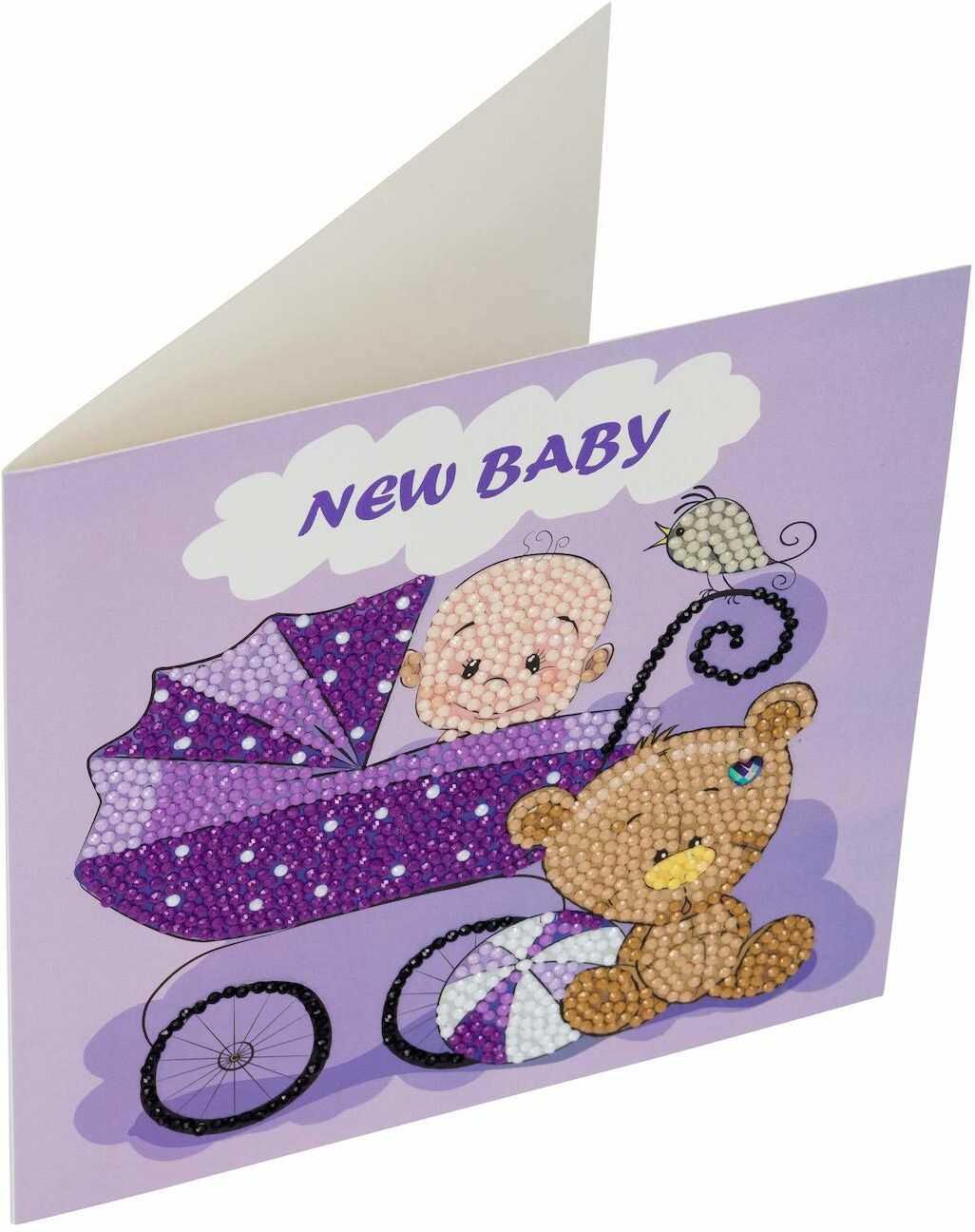 Crystal Art Nowy zestaw kart z kryształem dla niemowląt 18 x 18 cm