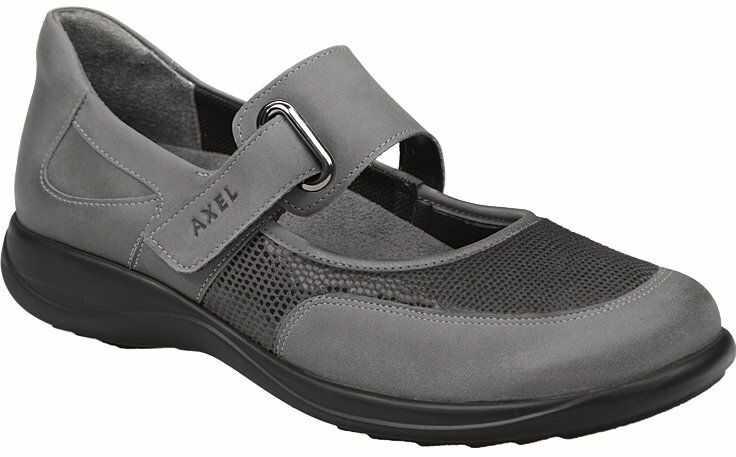 Półbuty na rzepy buty AXEL Comfort 1576 H Popiel + Stretch na Haluksy