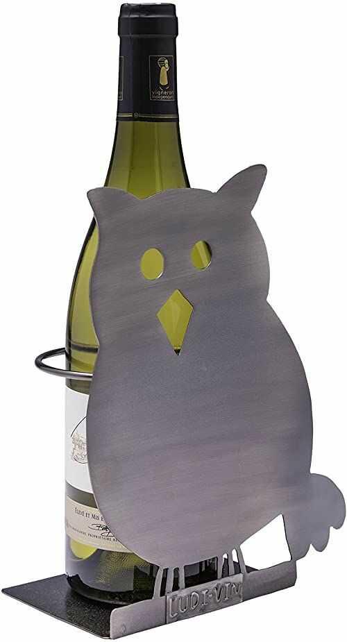 ludi-vin 5060388470982 stojak na butelki sowy metal 18 x 9,3 x 21,3 cm