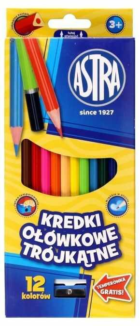 Kredki ołówkowe trójkątne 12 kolorów Astra 60443