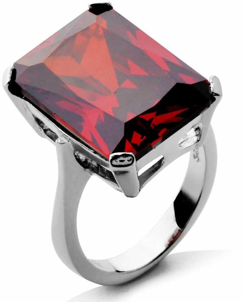 Srebrny Pierścionek z Dużą Czerwoną Cyrkonią - Czerwony
