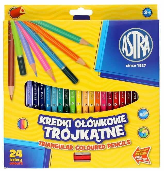 Kredki ołówkowe trójkątne 24 kolory Astra 60450