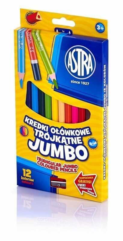 Kredki ołówkowe Jumbo trójkątne 12 kolorów Astra 60498