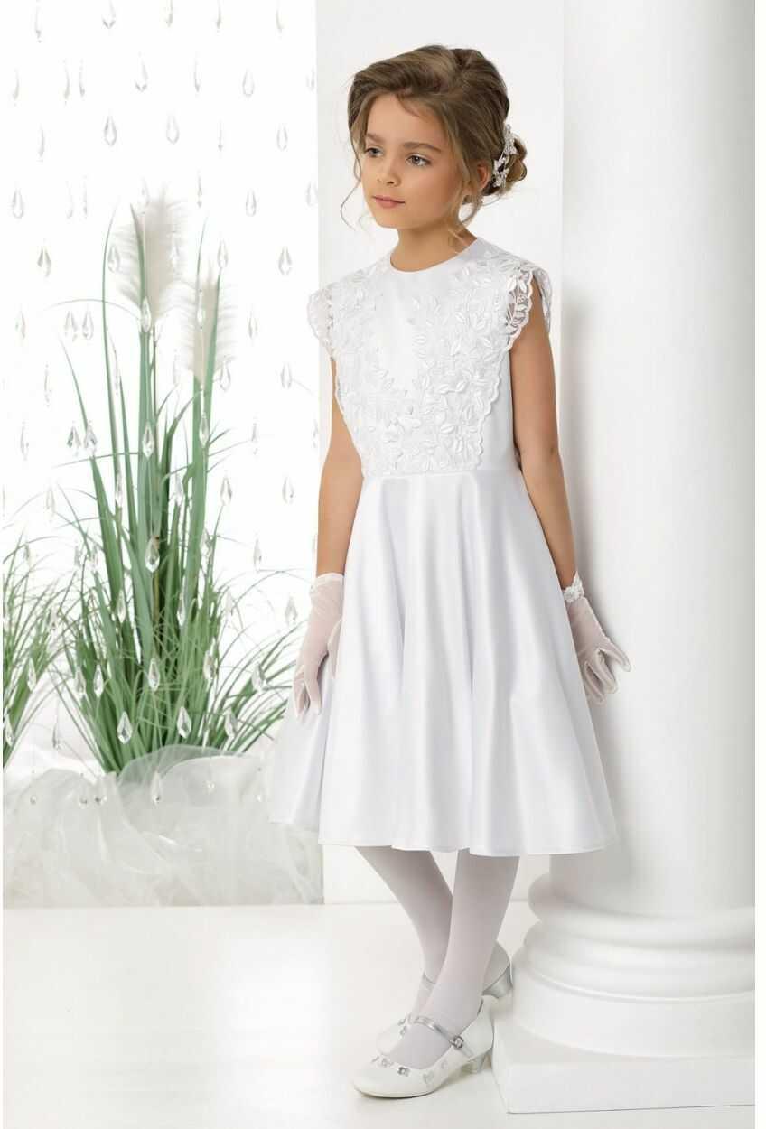 Sukienka komunijna z koronkową górą 134-158 Evelyn biała