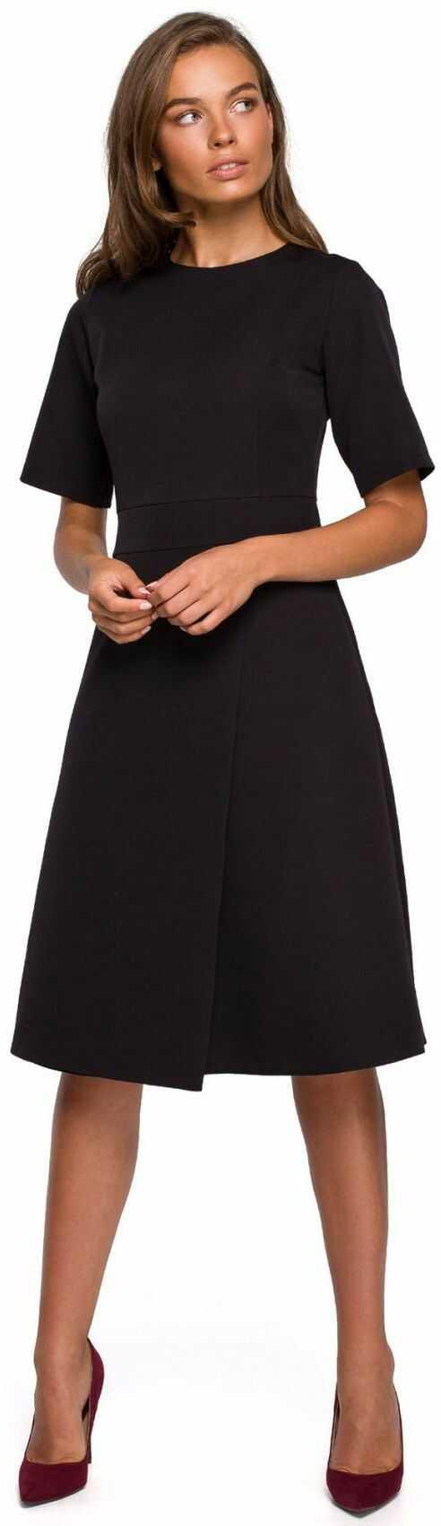 S240 Sukienka z dołem kopertowym - czarna