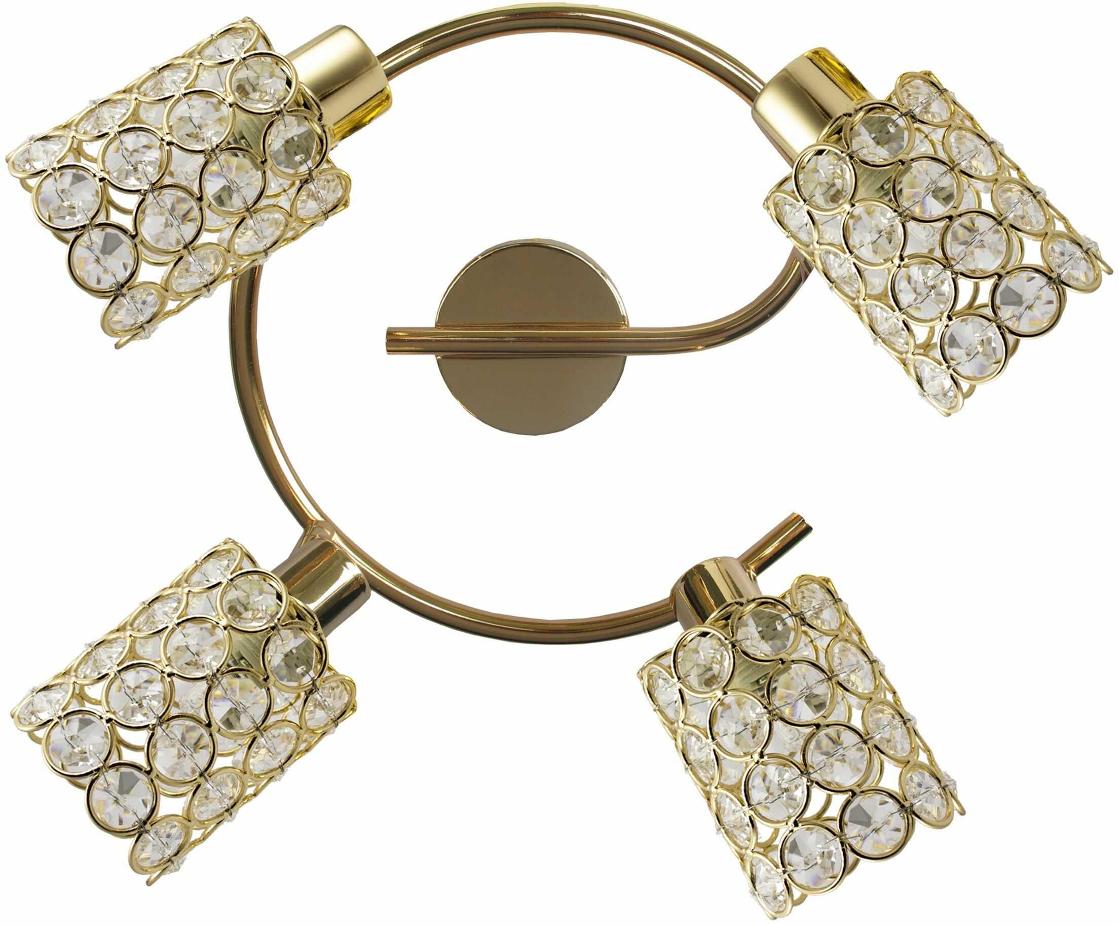 Candellux YORK 98-07230 plafon lampa sufitowa mosiądz kryształki 4X40W G9 44cm