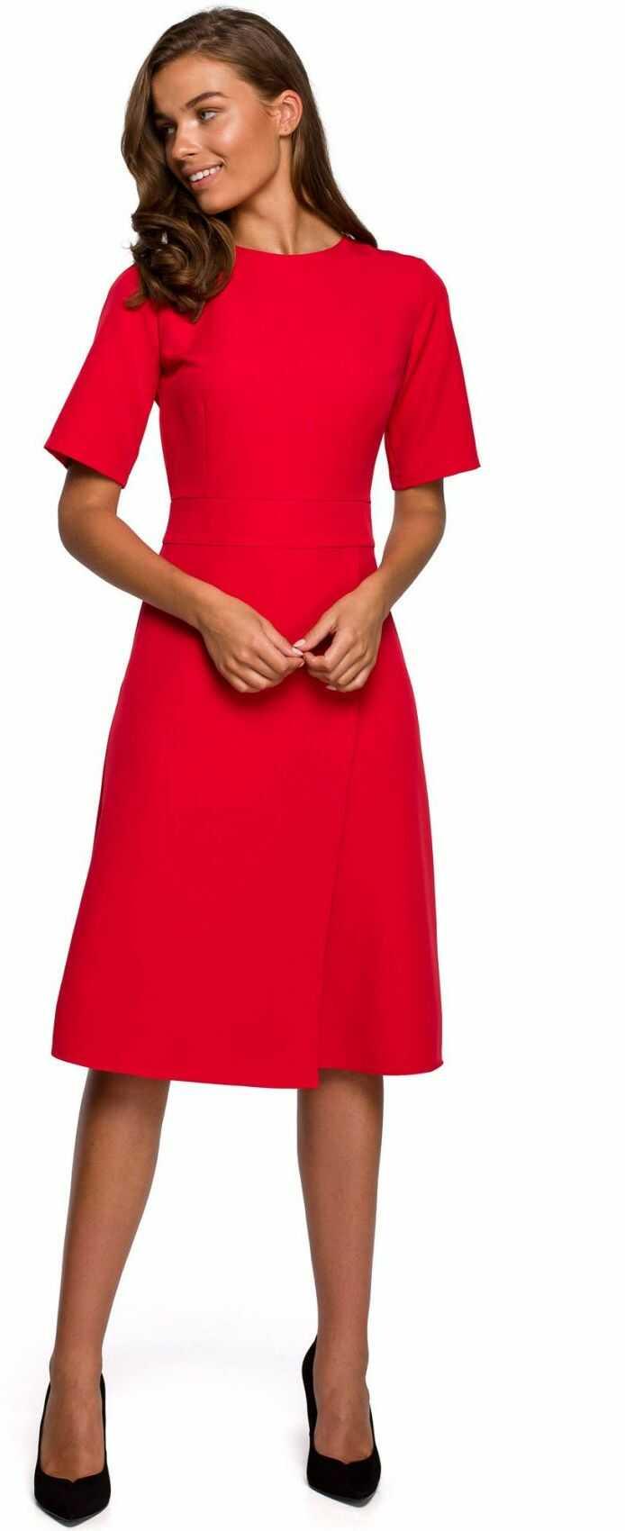 S240 Sukienka z dołem kopertowym - czerwona