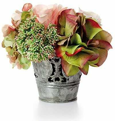 EUROCINSA 64001C21 róże i hortensje różowe z zielonymi, pudełko z 2 sztukami, tworzywo sztuczne, metal, 14 x 14 cm