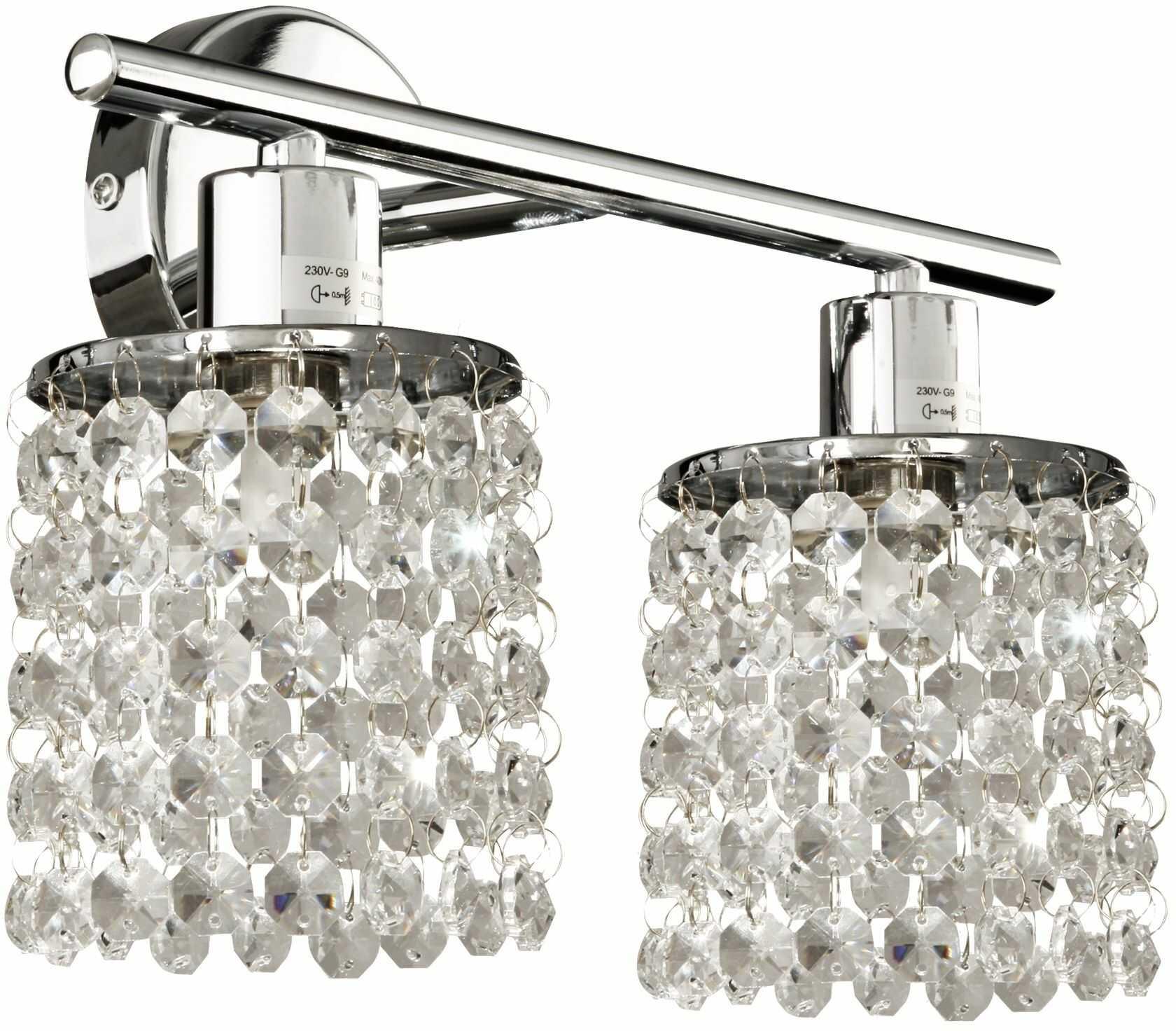 Candellux ROYAL 92-28030 kinkiet lampa ścienna chrom kryształki 2X40W G9 31cm
