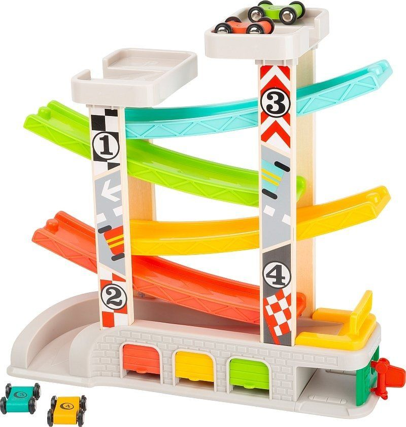 Kolorowy tor wyścigowy z parkingami i garażami 11361-Small Foot, zabawki dla chłopców i dziewczynek