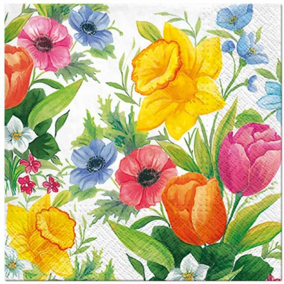 Serwetki Wiosenne Kwiaty - 33 cm - 20 szt.