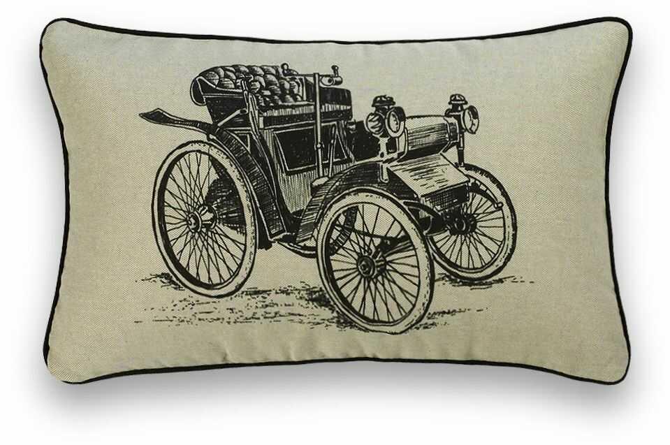 Guapore Len Vintage poduszka dekoracyjna, prostokątna, 30 x 50 cm, czarna