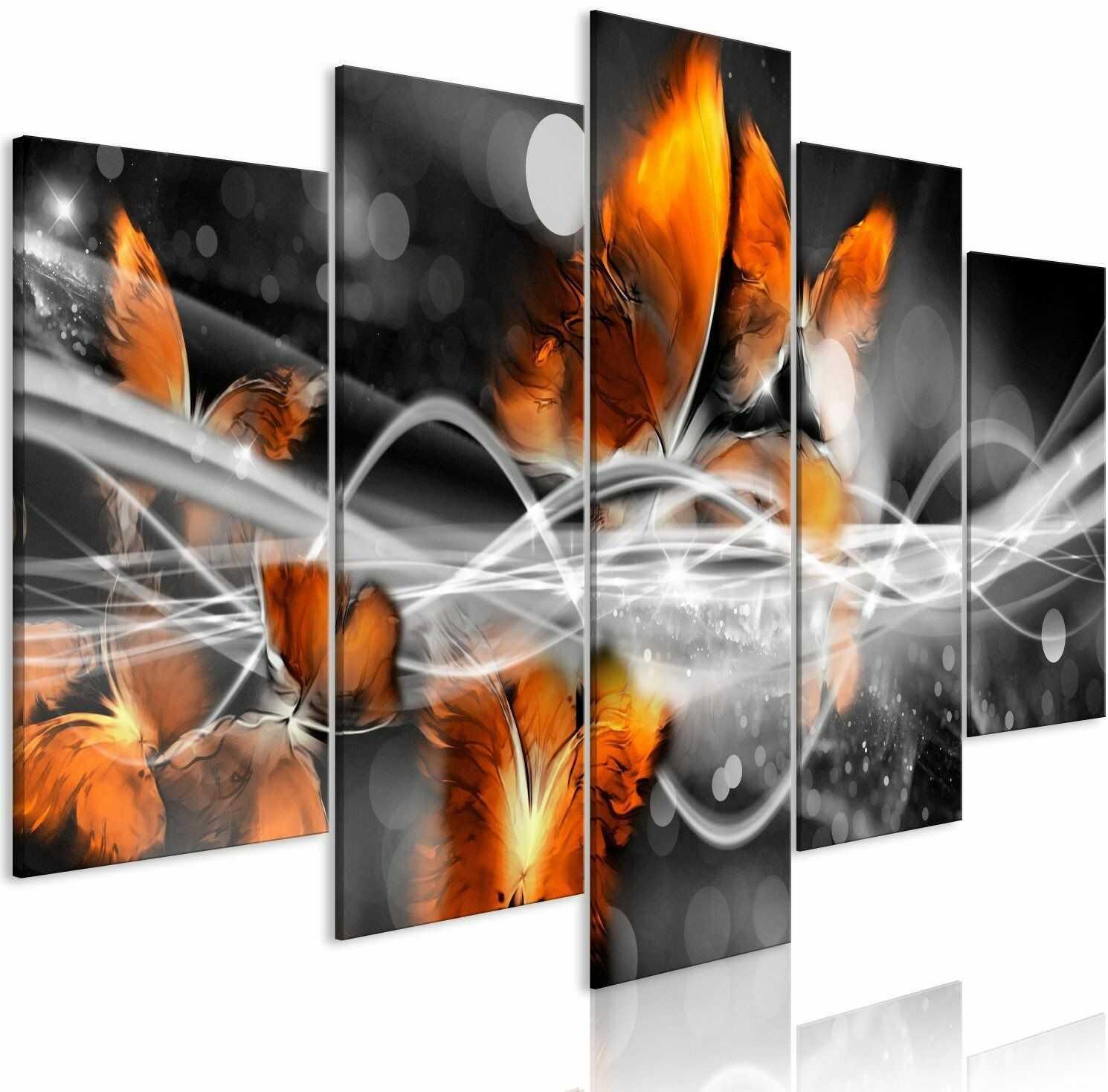 Obraz - rój motyli (5-częściowy) szeroki szary