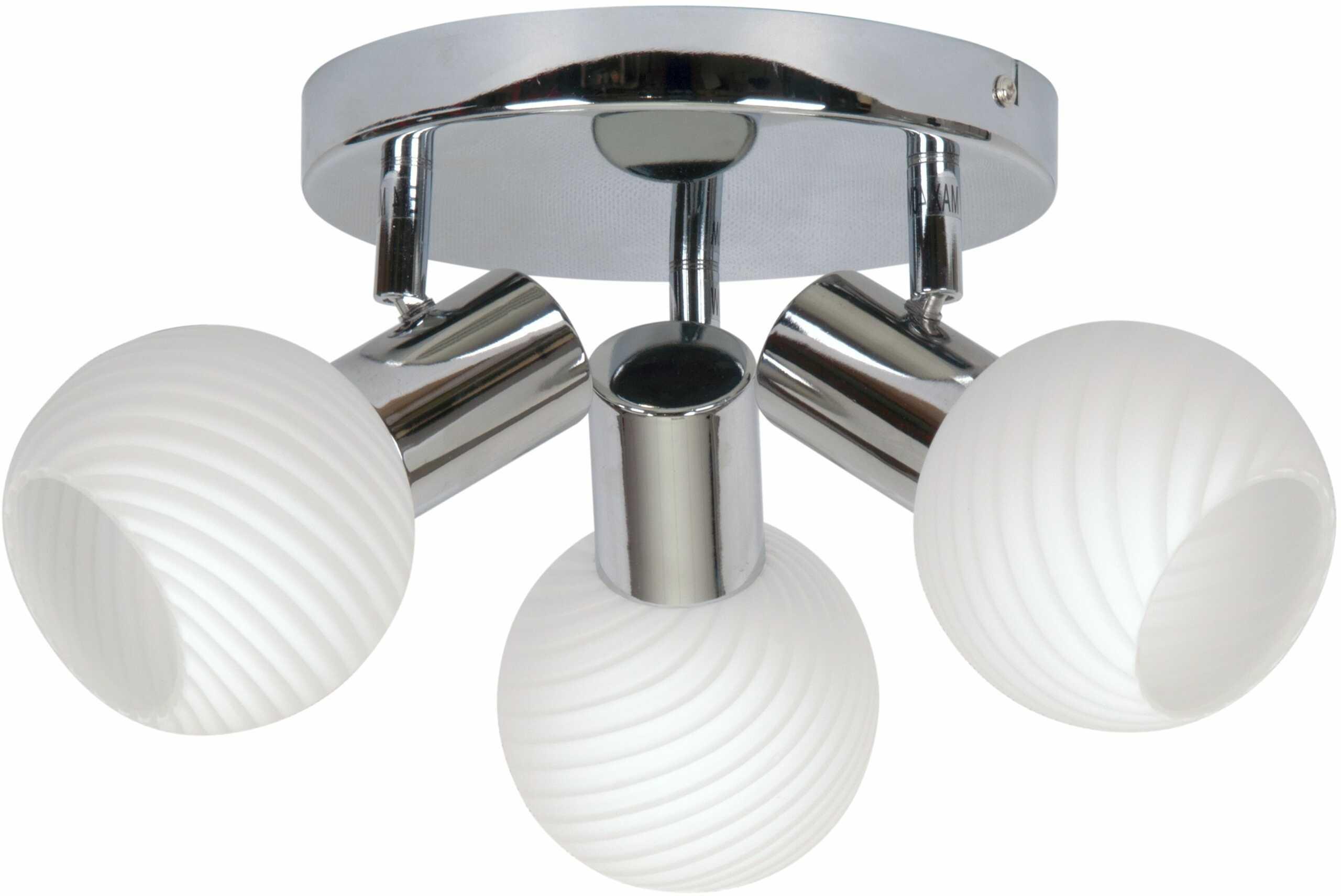 Candellux TURNO 98-10940 plafon lampa sufitowa chrom szklany klosz 3X40W E14 36cm