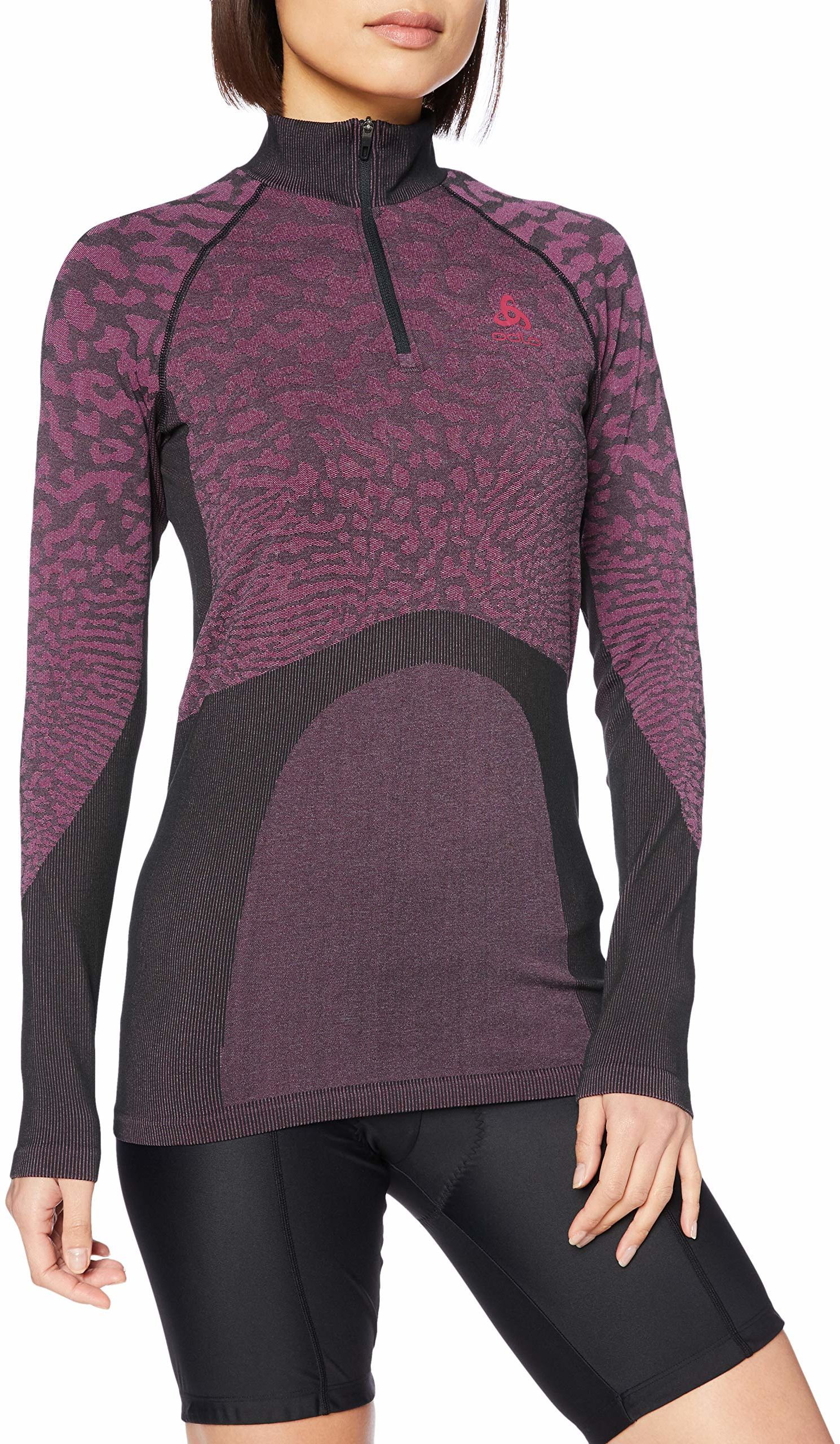 Odlo damska koszulka z długim rękawem BL Turtle Neck Half Zip Blackcomb z długim rękawem czarna, różowa koszulka, XL