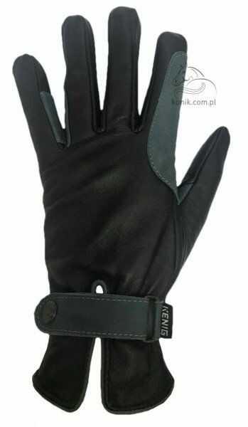 Rękawiczki KENIG skóra kozia licowa- czarne/petrol