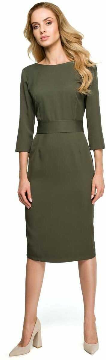 Khaki dopasowana sukienka za kolano z ozdobnymi guzikami