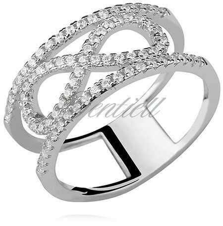 Srebrny, duży pierścionek pr.925 cyrkonia biała - nieskończoność