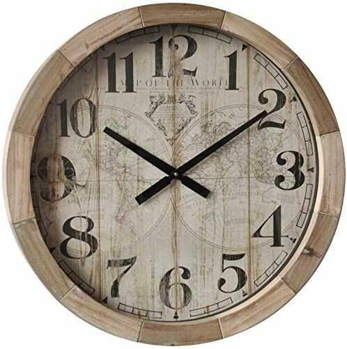 Dekoracja domowa, zegar z mapą, wielokolorowy, rozmiar uniwersalny