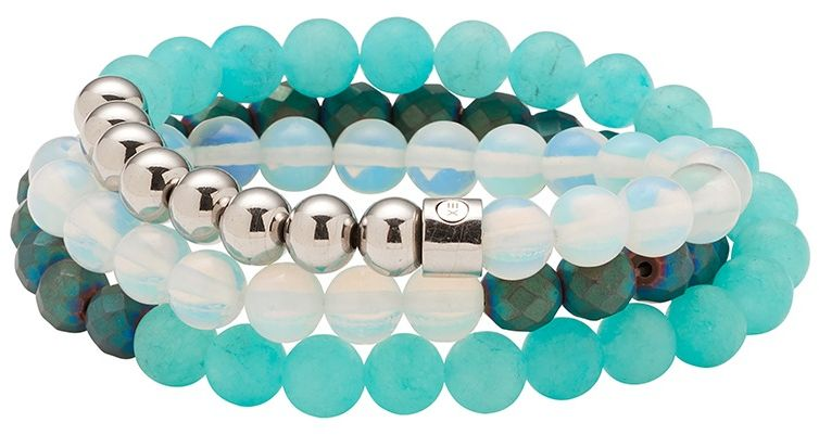 Bransoletka magnetyczna owijana 3295-3 kulki jadeitu, hematytu i hialitu