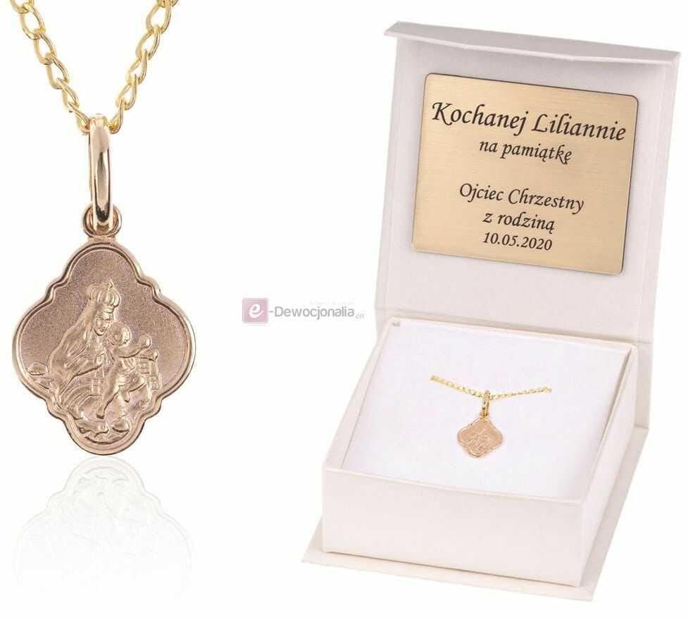 Złoty medalik z Matką Boską SZKAPLERZ łańcuszek pr. 585 DEDYKACJA - Pamiątka Prezent