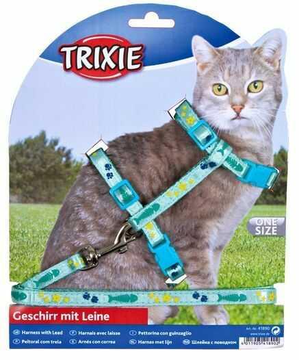 Uprząż (trixie) ze smyczą dla kota przeszyta wstążką