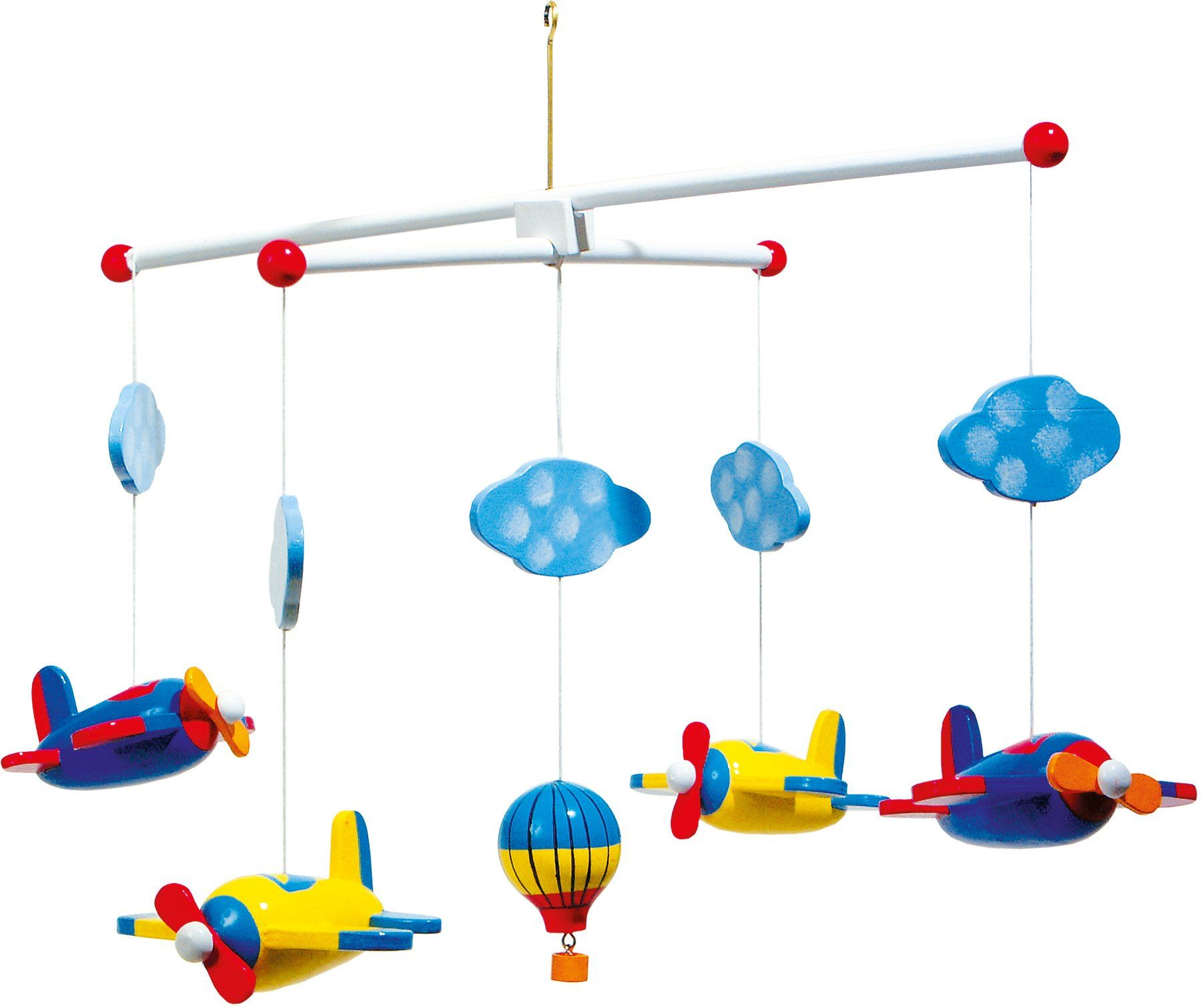 "small foot 7938 Mobile ""Lotnictwo"" z drewna, z chmurami, samolotami i balonem na gorący"