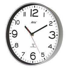 Zegar srebrny sterowany radiowo 25cm