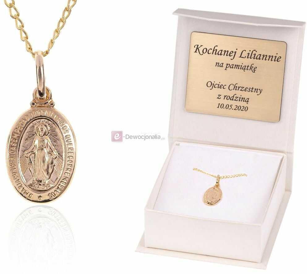 Złoty CUDOWNY MEDALIK łańcuszek pr. 585 DEDYKACJA - Pamiątka Prezent Upominek