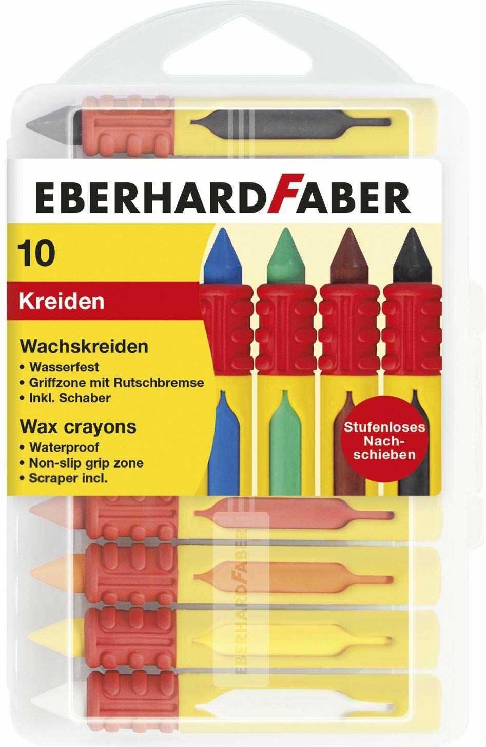 Eberhard 521009 Faber 521009 kreda świecowa z tulejką przesuwną i hamulcem antypoślizgowym, wielokolorowa