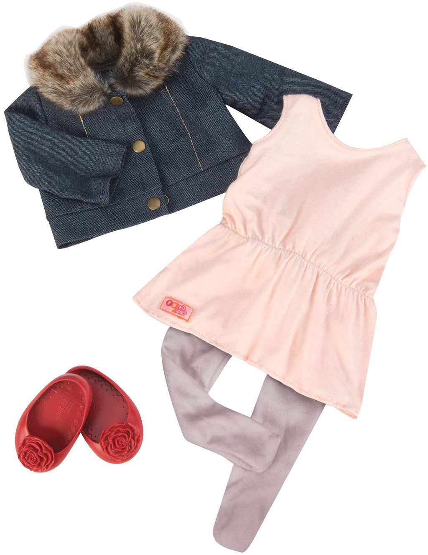 Our Generation 4455 Jean Jacket & Fur Collar, 18 cali / 46 cm